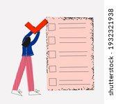 business woman puts a check...   Shutterstock .eps vector #1932321938