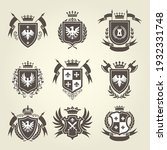 medieval royal coat of arms and ... | Shutterstock .eps vector #1932331748