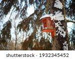 Winter Wooden Birdhouse...