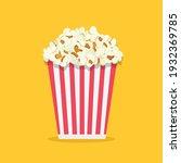 Popcorn Isolated On Yellowe...