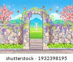 Brick Wall With Door Arch With...