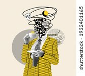 Small photo of Taking a break. Comics styled yellow dotted suit. Modern design, contemporary art collage. Inspiration, idea concept, trendy urban magazine style. Negative space to insert your text or ad.