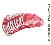 thin slices of raw beef... | Shutterstock . vector #1932429425