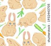 cute rabbits flat hand drawn... | Shutterstock .eps vector #1932443705