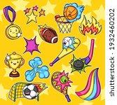 set of kawaii sport items. cute ... | Shutterstock .eps vector #1932460202