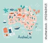 doodle australia map. travel... | Shutterstock .eps vector #1932463415