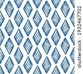 blue ink striped rhombuses...   Shutterstock .eps vector #1932467702