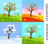 set of seasons illustrations.... | Shutterstock . vector #1932493502
