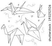 origami animals   paper crane ...   Shutterstock .eps vector #193252526