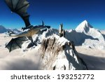 Dragons tower, Winged dragon flying over majestic mountains with a tower in the distance.  - stock photo