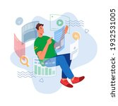 man analyzing data and studying ... | Shutterstock .eps vector #1932531005