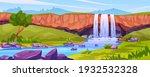 waterfall landscape  rocky... | Shutterstock .eps vector #1932532328