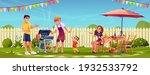 bbq people party on garden... | Shutterstock .eps vector #1932533792