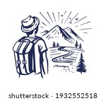 tourist stands and looks at...   Shutterstock .eps vector #1932552518