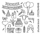 set of happy birthday doodles.... | Shutterstock .eps vector #1932564848