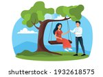 young happy couple on a swing... | Shutterstock .eps vector #1932618575