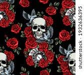 skull  birds  clock  cards and... | Shutterstock .eps vector #1932636395
