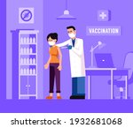doctor injects a vaccine into a ... | Shutterstock .eps vector #1932681068