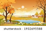 autumn landscape of farm field... | Shutterstock .eps vector #1932695588