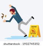 shock man slip on the wet floor ...   Shutterstock .eps vector #1932745352
