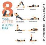 infographic 8 yoga poses for... | Shutterstock .eps vector #1932855245