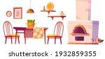 cozy cafe or pizzeria interior...   Shutterstock .eps vector #1932859355