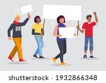 people with placards. protest.... | Shutterstock .eps vector #1932866348