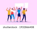 people with placards. protest.... | Shutterstock .eps vector #1932866408