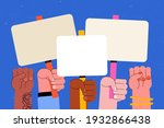 people with placards. protest.... | Shutterstock .eps vector #1932866438