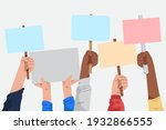 people with placards. protest....   Shutterstock .eps vector #1932866555