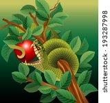 Snake In Tree Biting Red Apple