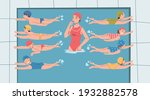 cute kids swimming in pool at... | Shutterstock .eps vector #1932882578