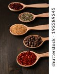 different spices in spoons on... | Shutterstock . vector #193289345