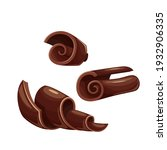 chocolate shavings icons. curl  ...   Shutterstock .eps vector #1932906335