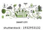 smart city concept  flat line... | Shutterstock .eps vector #1932953132