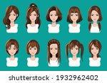 illustration avatar with hair... | Shutterstock .eps vector #1932962402