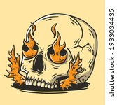 Skull With Fire Hand Drawn...