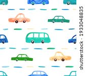watercolor pattern with cars... | Shutterstock . vector #1933048835