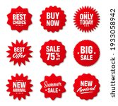 realistic red price tags... | Shutterstock .eps vector #1933058942