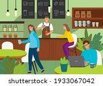 trendy  modern cafeteria or...   Shutterstock .eps vector #1933067042