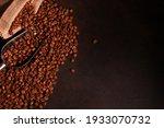 Heap Of Coffee Beans In Metal...