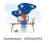little girl is sitting at desk...   Shutterstock .eps vector #1933163192