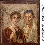 Small photo of Portrait of the baker Terentius Neo and his wife. Perhaps ht only one of this kind discovered in the ancient roman site of Pompeii, near Naples. It was completely destroyed by the eruption of Vesuvius