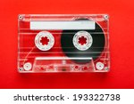 Audio Tape Cassette On Red...