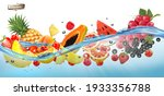 fruit in juice splash panorama. ... | Shutterstock .eps vector #1933356788