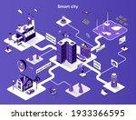 smart city isometric web banner....   Shutterstock .eps vector #1933366595