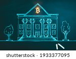 Small photo of Bitcoin banking symbol. Concept of bitcoin mass adoption of hedge funds, pension funds, VC capital, financial institutions and banks. Government regulations