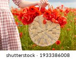 Wicker Round Bag With Red...