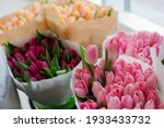 Large Bouquet Of Tulips Close Up
