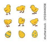 easter set of cute cartoon...   Shutterstock .eps vector #1933444058